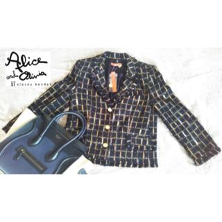 アリスアンドオリビア(Alice+Olivia)の【新品・タグ付】alice+olivia テーラードツィードジャケット 8分袖(テーラードジャケット)