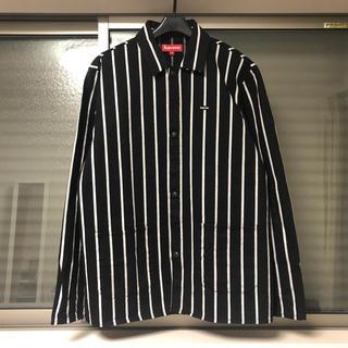 シュプリーム(Supreme)の美品 Supreme Shop Jacket M 黒 ストライプ カバーオール (カバーオール)
