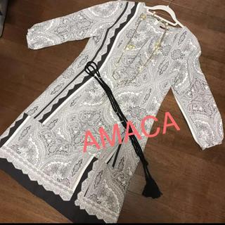 アマカ(AMACA)の⭐️デザインが素敵なシルク混の上質大人ワンピ 40サイズか38サイズくらいの方に(ひざ丈ワンピース)