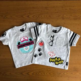 アナップキッズ(ANAP Kids)のANAPWAY⭐︎アナップウェイ⭐︎Tシャツ2枚セット⭐︎80⭐︎グレー(Tシャツ)