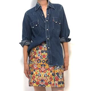 ドリスヴァンノッテン(DRIES VAN NOTEN)のCELINE セリーヌ フィービー スカート ジャガード 花柄 40(ひざ丈スカート)