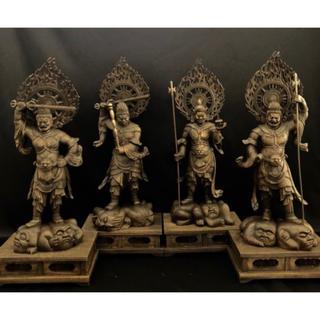 大迫力 高55cm 楠材 時代彫刻 木彫仏像 仏教美術 四天王像一式(彫刻/オブジェ)