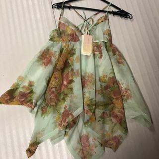 ◆新品タグ付き◆お花ランダム裾カットソー◆ロングキャミ◆ミント(キャミソール)