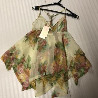 ◆新品タグ付き◆お花ランダム裾カットソー◆ロングキャミ◆ベージュ(キャミソール)