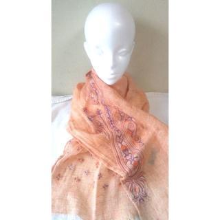 SALE TARA BLANCA 刺繍ストール オレンジ 花柄(ストール/パシュミナ)