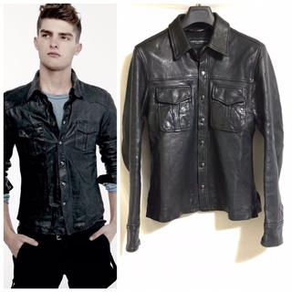 DOLCE&GABBANA - 本物 名作 ドルチェ&ガッバーナ ラムスキン レザーシャツ ジャケット 黒 46