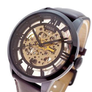 フォッシル(FOSSIL)のFOSSIL 腕時計 Townsman 自動巻き ブラック スケルトン ブラウン(腕時計(アナログ))