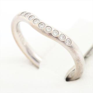 ティファニー(Tiffany & Co.)のティファニー カーブドバンド 9P ダイヤ リング Pt950 3.3g(リング(指輪))