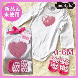 マッドパイ(Mud Pie)の新品 未使用 mudpie マッドパイ ロンパース&靴下セット 女の子 70cm(ロンパース)
