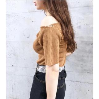 カスタネ(Kastane)のカスタネ♡JQ楊柳半袖TEE♡キャメル(Tシャツ(半袖/袖なし))