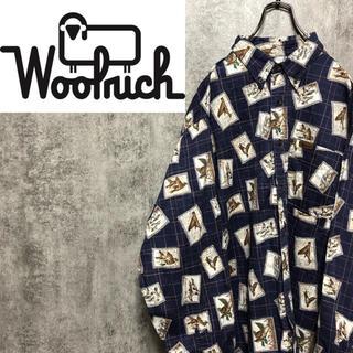 WOOLRICH - 【激レア】ウールリッチ☆メキシコ製レザーロゴアニマル柄カモ柄総柄シャツ 90s