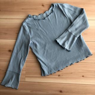 アーヴェヴェ(a.v.v)のa.v.v. ライトブルー メローリブカットソー 長袖 140(Tシャツ/カットソー)