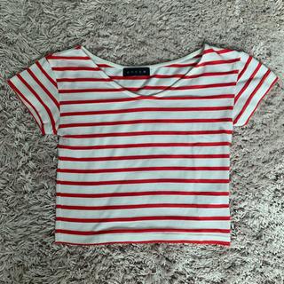 アンビー(ENVYM)のENVYM VネックボーダーTシャツ(Tシャツ/カットソー(半袖/袖なし))