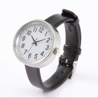 ムジルシリョウヒン(MUJI (無印良品))の新品★無印良品★腕時計・公園の時計・小 黒革 メンズ レディース おしゃれ 女性(腕時計)