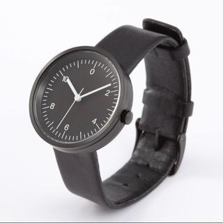 ムジルシリョウヒン(MUJI (無印良品))の新品★無印良品★腕時計・Wall Clock・黒 黒革 メンズ レディース ★(腕時計)