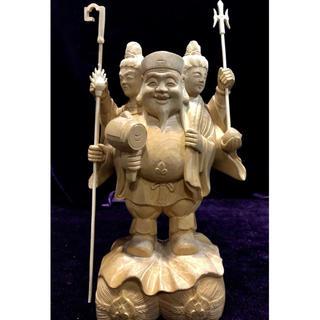 桧木材 一刀彫 秀吉の守護神 三面大黒天(彫刻/オブジェ)
