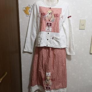 ピンクハウス(PINK HOUSE)の春色❤️ ピンクハウス クマ くま 上下セット ロングスカート カーディガン(その他)