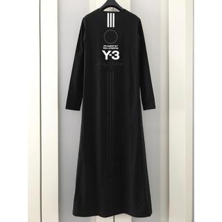 ワイスリー(Y-3)の美品 Y-3 18SSバックプリント ロング丈 ワンピース(ロングワンピース/マキシワンピース)
