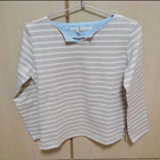 美品!! ボーダー トップス ベージュ Tシャツ カットソー(Tシャツ/カットソー(七分/長袖))