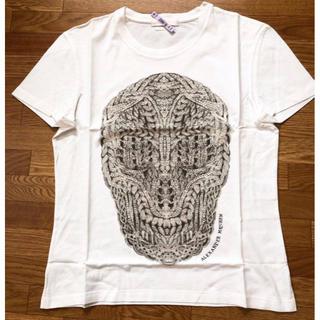 アレキサンダーマックイーン(Alexander McQueen)の美品アレクサンダーマックイーンスカルメンズロゴTシャツXS白(Tシャツ/カットソー(半袖/袖なし))
