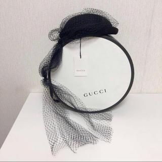 グッチ(Gucci)のGUCCI グッチ チュール付き ベレー帽 ベレー 帽子 ブラック 未使用 L(ハンチング/ベレー帽)