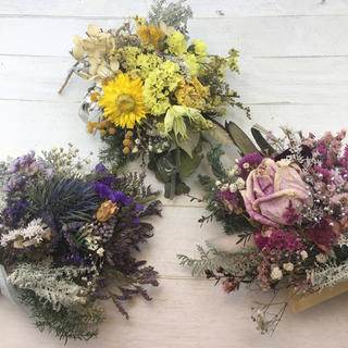 ドライフラワー 3色のブーケ 菜の花(ドライフラワー)