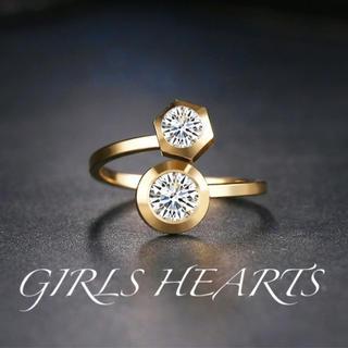 送料無料17号イエローゴールドスーパーCZダイヤステンレスデザイナーズリング指輪(リング(指輪))