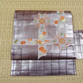 紫に銀糸 花や巻物 名古屋帯(帯)