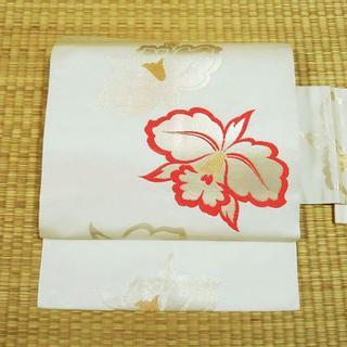 白地にオレンジの花 名古屋帯(帯)