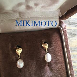 ミキモト(MIKIMOTO)のミキモト ハート パール イヤリング K14 YG(イヤリング)