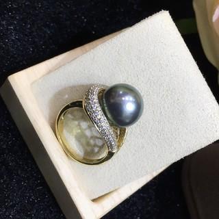 【高級】天然タヒチ黒蝶真珠 リング12mm k14(リング(指輪))