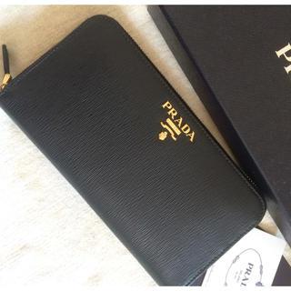 プラダ(PRADA)のPRADA ラウンドジップ長財布♡ハードレザー♡定番人気のブラック♡(財布)