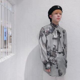 ミルクボーイ(MILKBOY)のmilkboy LOST STORY BOW SHIRTS リボンシャツ グレー(シャツ/ブラウス(長袖/七分))