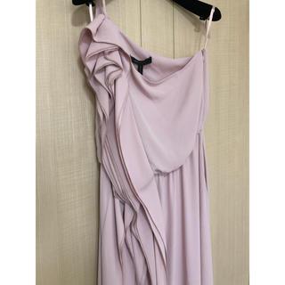 BCBGMAXAZRIA - BCBG くすみピンク ロングドレス ワンショルダー