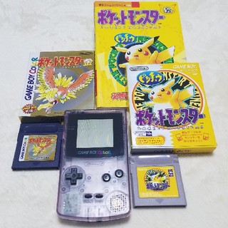 ゲームボーイ(ゲームボーイ)のゲームボーイカラーとポケモンソフト2個(携帯用ゲームソフト)