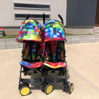 コサット(COSSATO)のベビーカー 二人乗り コサット スパドゥパ  ピクセル柄 双子ツインベビーカー(ベビーカー/バギー)