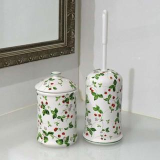 トイレブラシ おしゃれ 陶器 セット イチゴ ストロベリー サニタリー 掃除用具(日用品/生活雑貨)