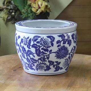 水鉢 10号 大型 火鉢 鉢カバー プランターカバー プランター 洋蓮青(花瓶)