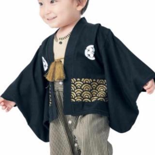 90cm❤︎紋付き羽織り袴ロンパース男の子黒 袴風カバーオールはかま初節句(和服/着物)