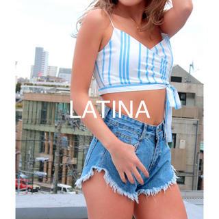 アナップラティーナ(ANAP Latina)の新品 LATINA♡マルチストトライプカシュクールリボンビスチェブラキャミトップ(キャミソール)