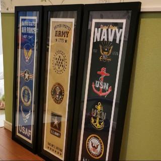 【損切り】アメリカ海軍 空軍 陸軍 米軍 盾 額縁 非売品 限定品 USNAVY(その他)