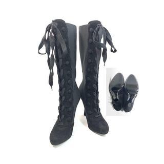 ドルチェアンドガッバーナ(DOLCE&GABBANA)の美品!ドルチェ&ガッバーナDOLCE&GABBANA ブーツ37 スエード黒 靴(ブーツ)