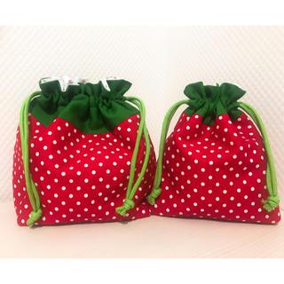 ♡フルーツモチーフ⁑いちご♡お弁当袋&コップ袋セット(外出用品)