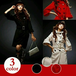 56 2Wayタイプの襟ロングコート3色(ロングコート)