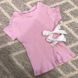 プティマイン(petit main)のプティマイン petit main リボン付きピンクカットソー90-100cm(Tシャツ/カットソー)