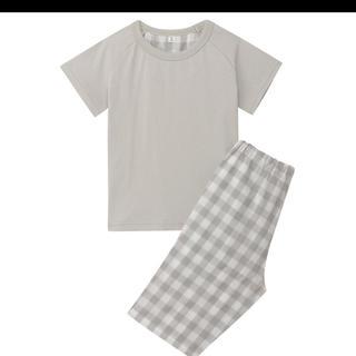 ムジルシリョウヒン(MUJI (無印良品))の無印良品 涼感半袖 ベビー パジャマ 90-100 グレー(パジャマ)