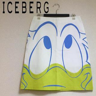 アイスバーグ(ICEBERG)の【新品】ICE BERG スカート ドナルドダック 高級 ホワイト イタリア製(ひざ丈スカート)