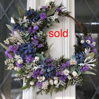 母の日*薄紫とブルーの三日月リース ドライフラワーリース(ドライフラワー)