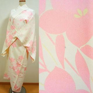 白地にピンクの花 単衣 長襦袢(着物)