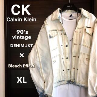 カルバンクライン(Calvin Klein)の【激レア1点物】Calvin kleinホワイトブリーチデニムJKT【希少XL】(Gジャン/デニムジャケット)